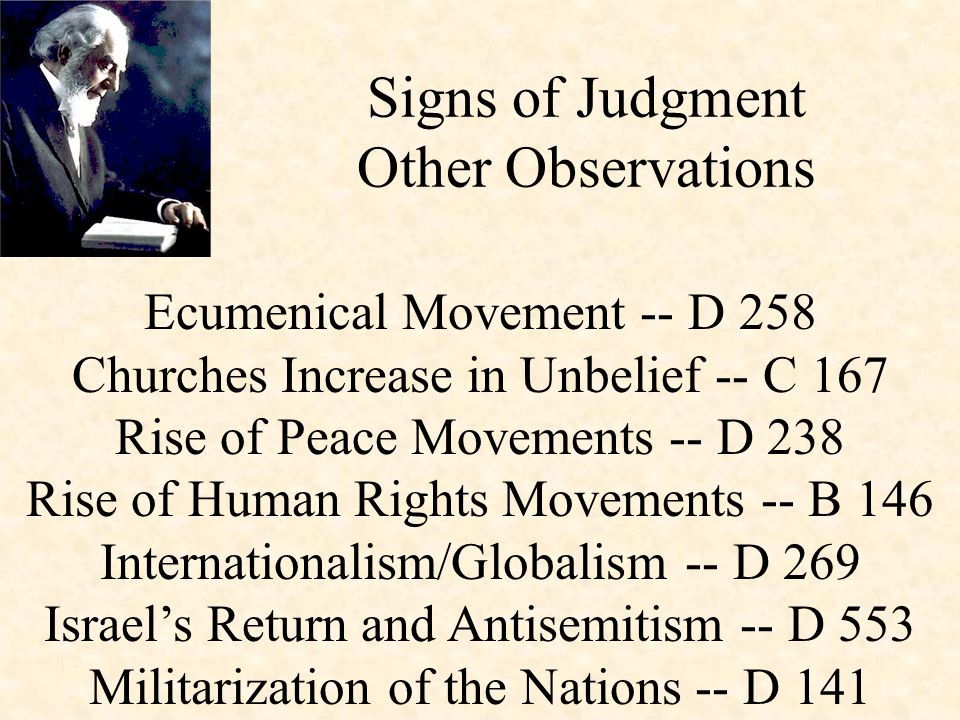 Ecumenical Movement -- D 258 Churches Increase in Unbelief -- C 167 Rise of Peace Movements -- D 238 Rise of Human Rights Movements -- B 146 Internati