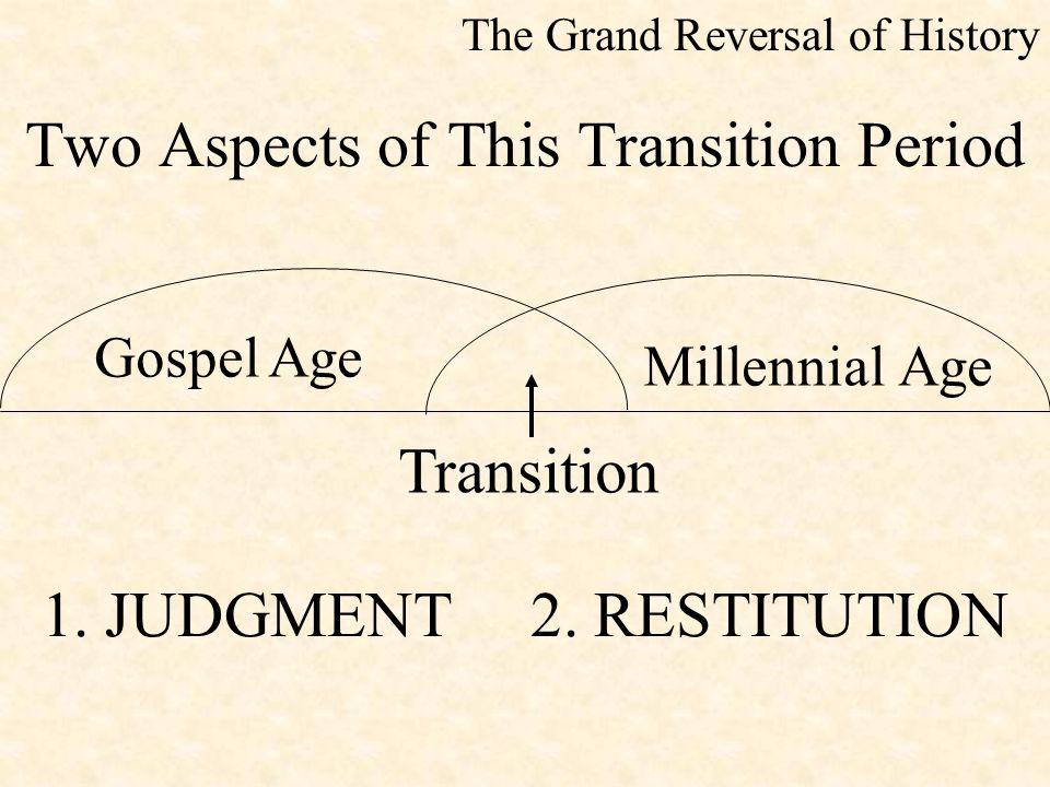 Two Aspects of This Transition Period The Grand Reversal of History Gospel Age Millennial Age Transition 1. JUDGMENT 2. RESTITUTION