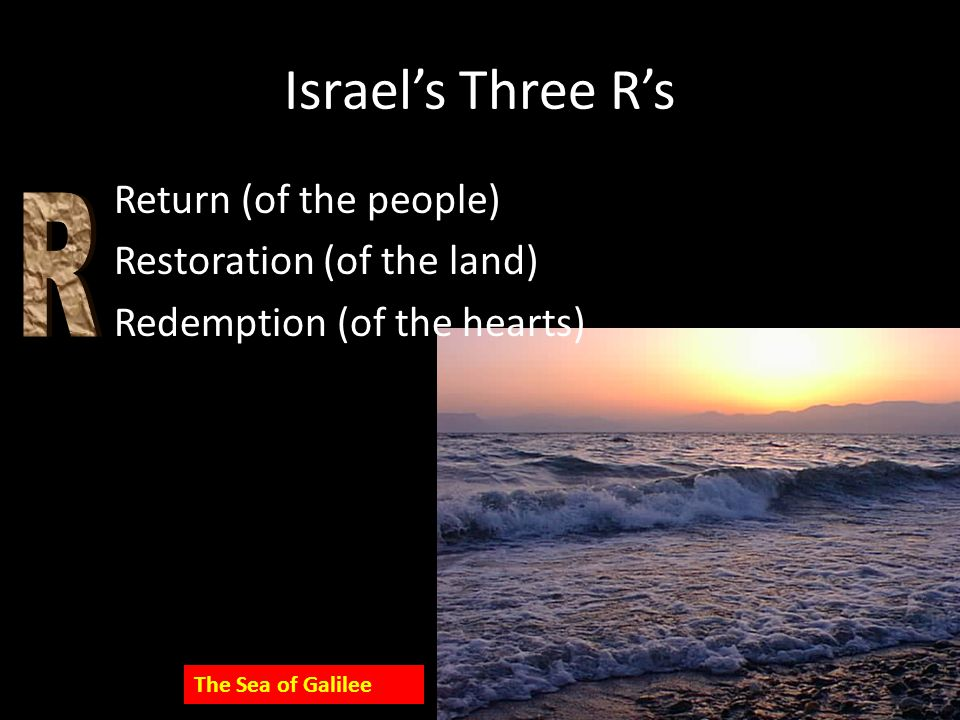 Israel's Three R's Return (of the people) Restoration (of the land) Redemption (of the hearts) The Sea of Galilee