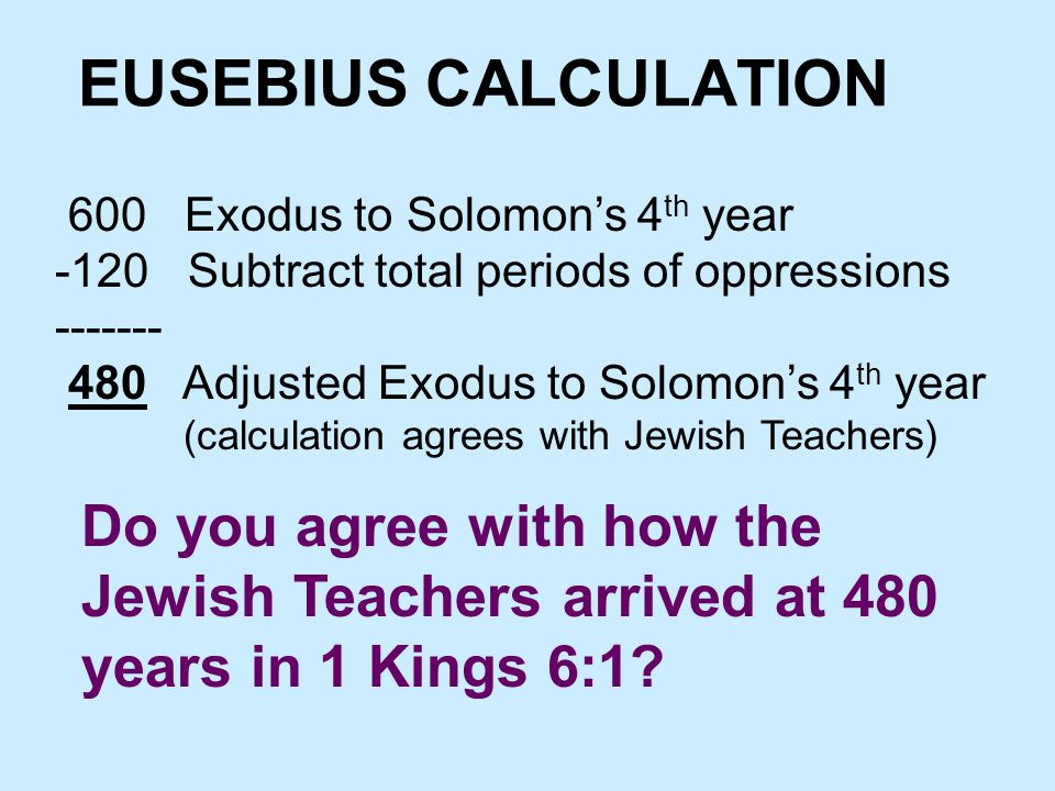 EUSEBIUS CALCULATION 600 Exodus to Solomon's 4 th year -120 Subtract total periods of oppressions ------- 480 Adjusted Exodus to Solomon's 4 th year (calculation agrees with Jewish Teachers) Do you agree with how the Jewish Teachers arrived at 480 years in 1 Kings 6:1