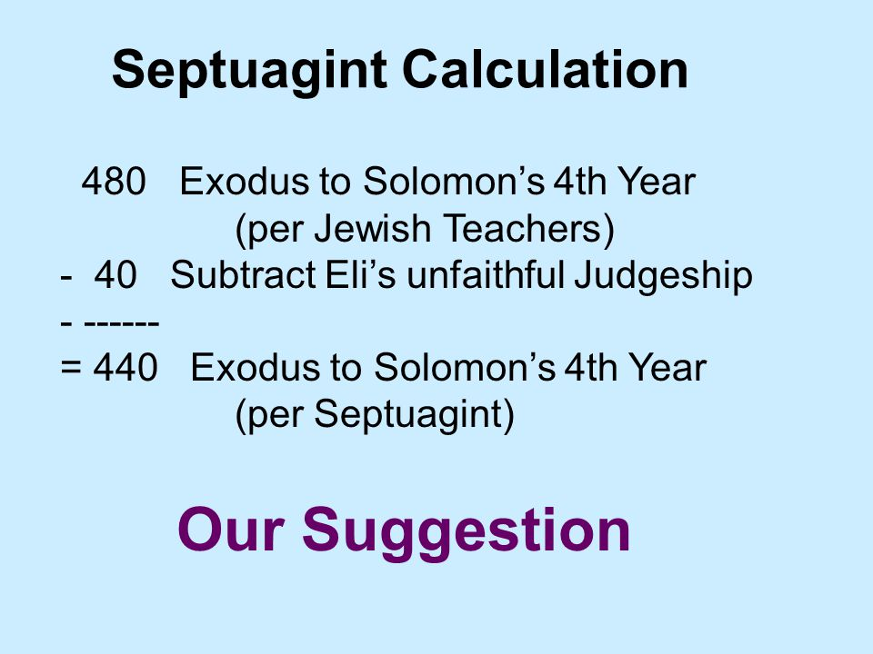 Septuagint Calculation 480 Exodus to Solomon's 4th Year (per Jewish Teachers) - 40 Subtract Eli's unfaithful Judgeship - ------ = 440 Exodus to Solomon's 4th Year (per Septuagint) Our Suggestion