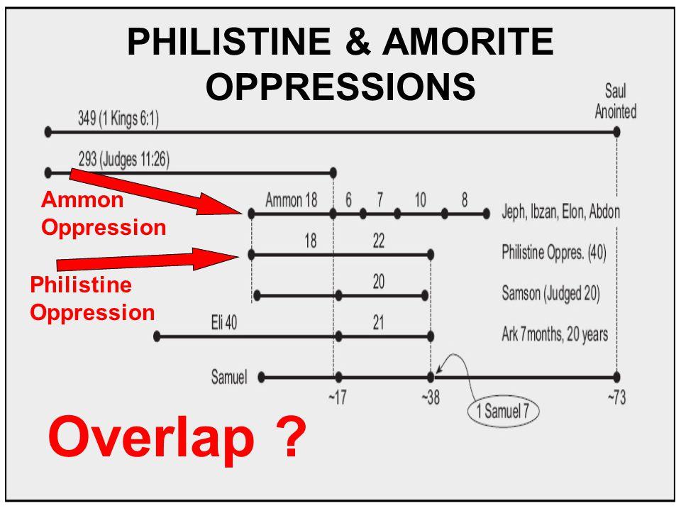 PHILISTINE & AMORITE OPPRESSIONS Philistine Oppression Ammon Oppression Overlap ?