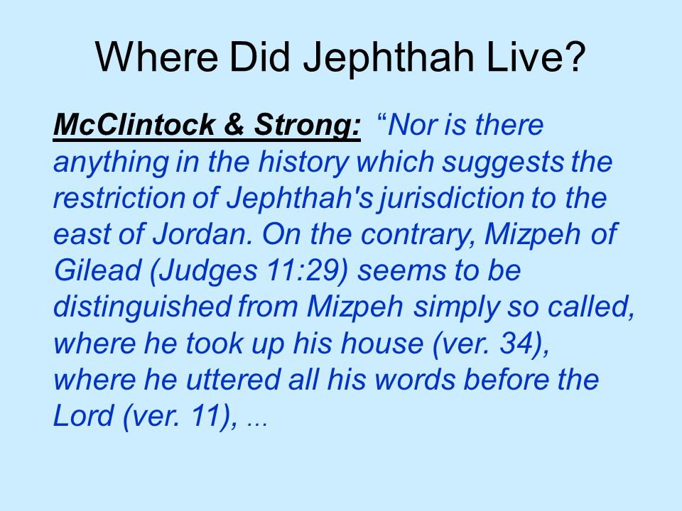 Where Did Jephthah Live.