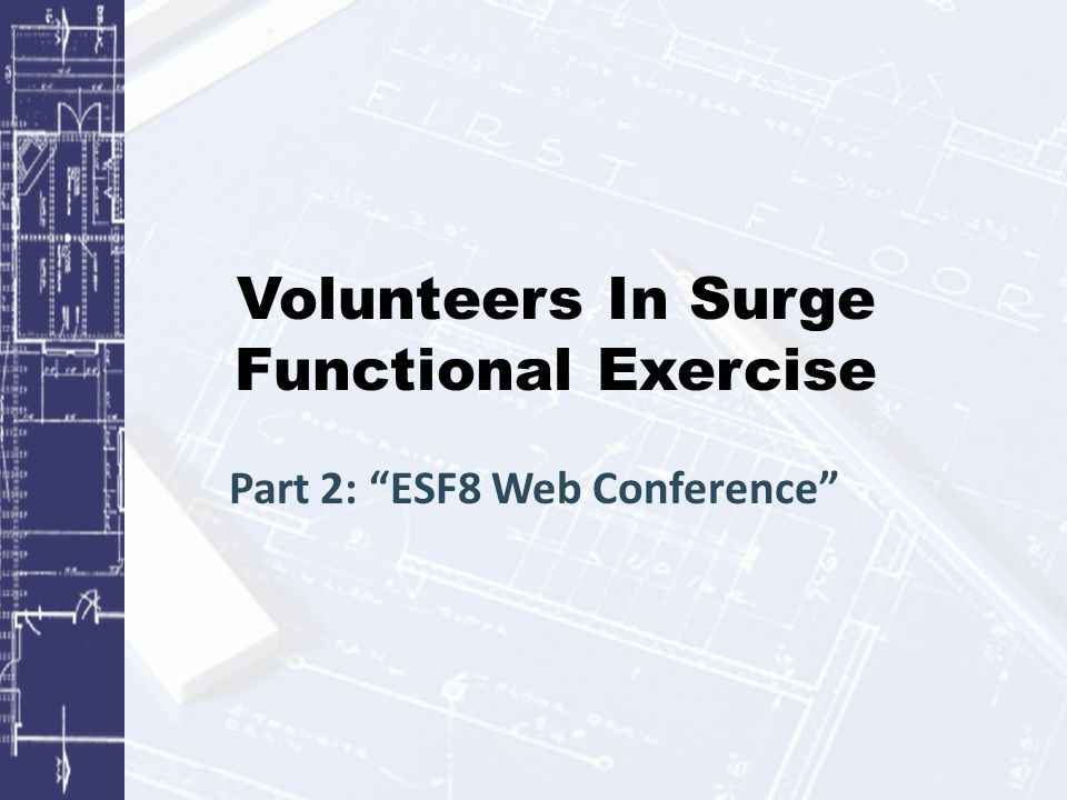 Volunteers In Surge Functional Exercise Part 2: ESF8 Web Conference