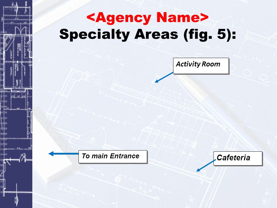 Specialty Areas (fig. 5): Cafeteria To main Entrance Activity Room