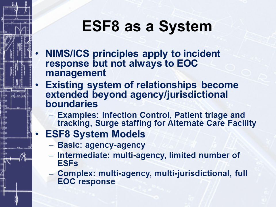 ESF8 Planning Committee Mission Statement: The County Emergency Support Function 8 Planning Committee (ESF8 Committee) is a multi-disciplinary, coordinating group representing ESF8 agencies and organizations.