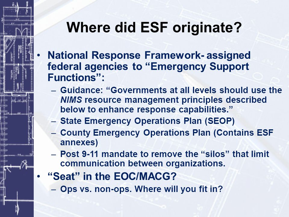 Intermediate Response Example: Multi-Agency, Multi-Jurisdiction, Limited Number of ESFs Alamosa, CO, Salmonella (ESFs 3, 5, 8, and 15) Limited geographic area flooding/natural disaster.