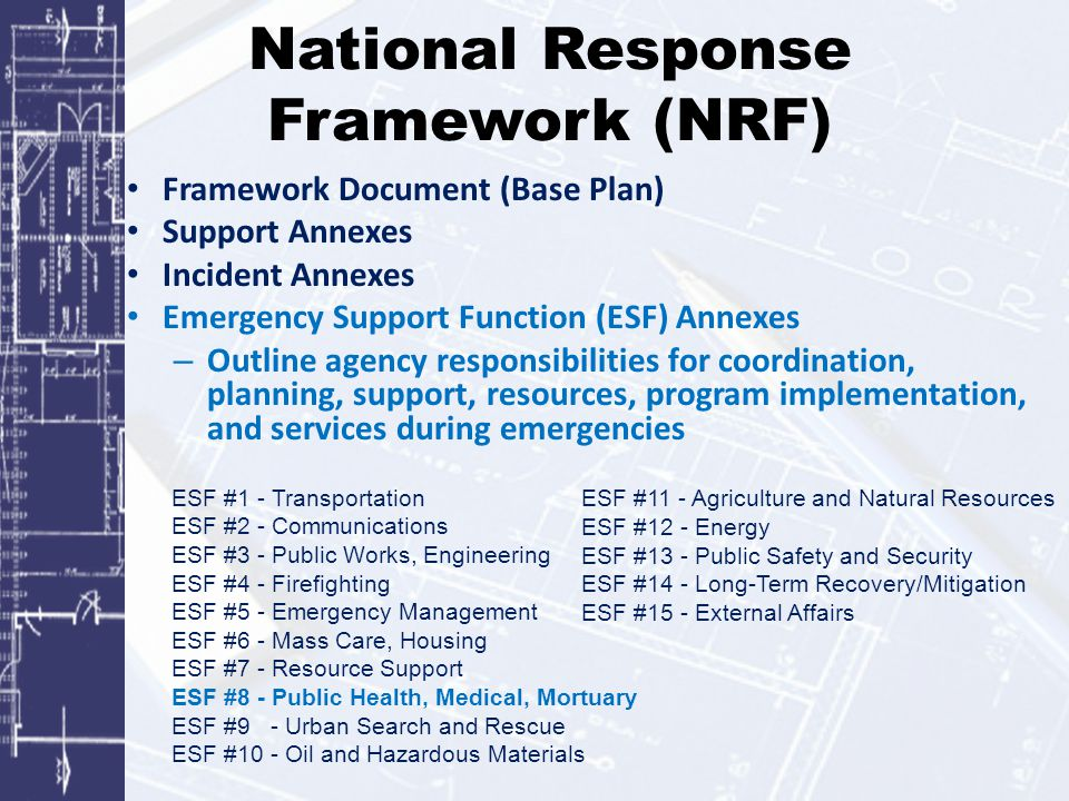 National Response Framework (NRF) Framework Document (Base Plan) Support Annexes Incident Annexes Emergency Support Function (ESF) Annexes – Outline a