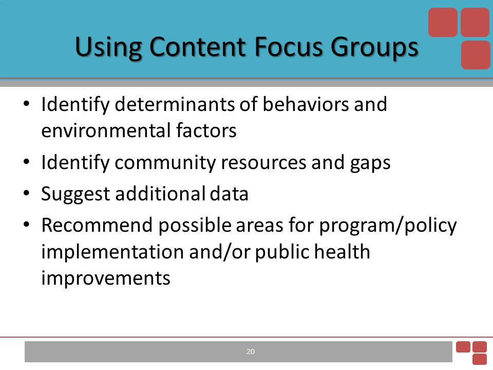 Identify determinants of behaviors and environmental factors Identify community resources and gaps Suggest additional data Recommend possible areas fo