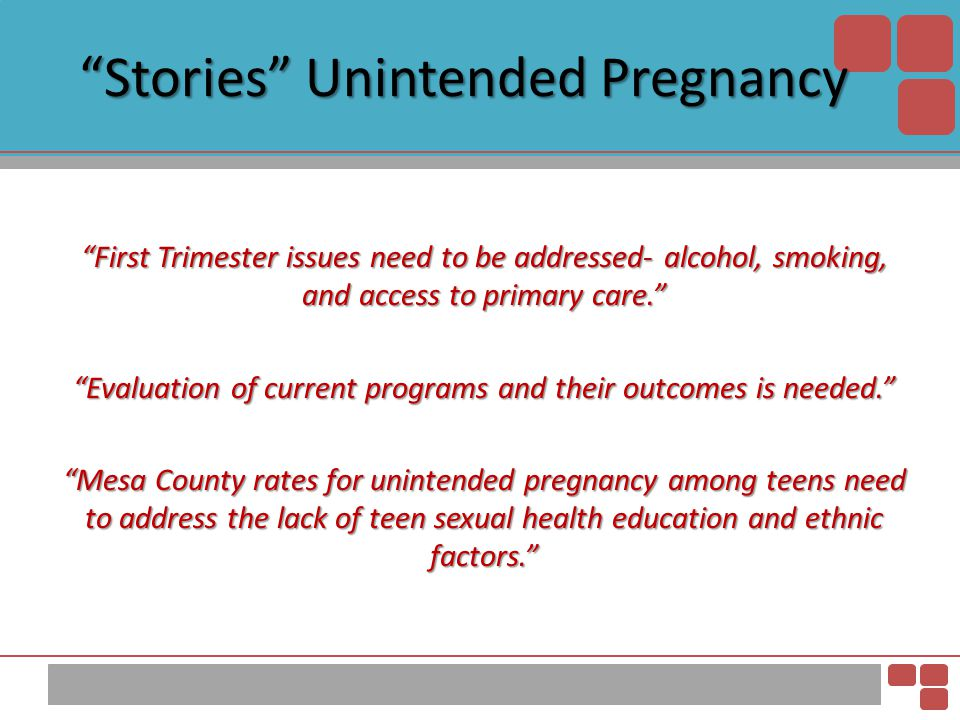 """""""Stories"""" Unintended Pregnancy """"First Trimester issues need to be addressed- alcohol, smoking, and access to primary care."""" """"Evaluation of current pro"""