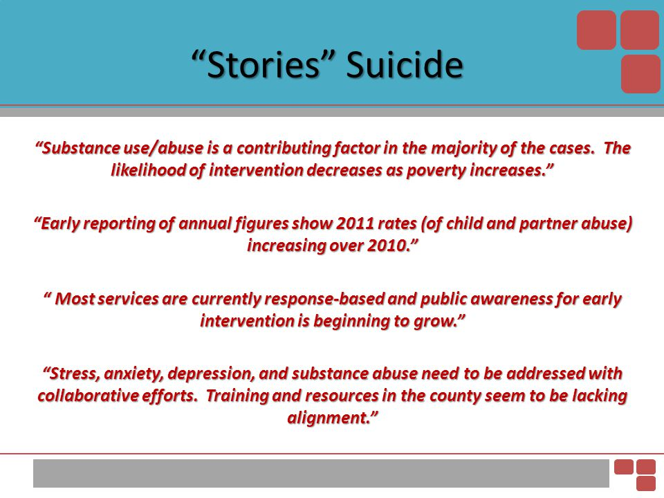 """""""Stories"""" Suicide """"Substance use/abuse is a contributing factor in the majority of the cases. The likelihood of intervention decreases as poverty incr"""