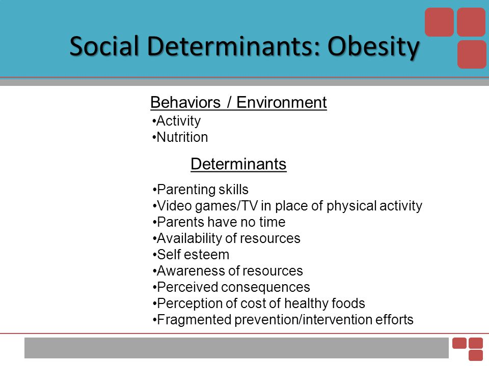 Social Determinants: Obesity Behaviors / Environment Determinants Activity Nutrition Parenting skills Video games/TV in place of physical activity Par