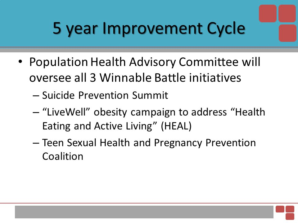 """5 year Improvement Cycle Population Health Advisory Committee will oversee all 3 Winnable Battle initiatives – Suicide Prevention Summit – """"LiveWell"""""""