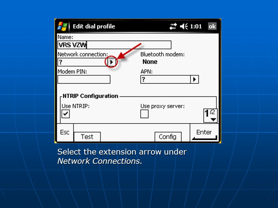 Select the extension arrow under Network Connections.