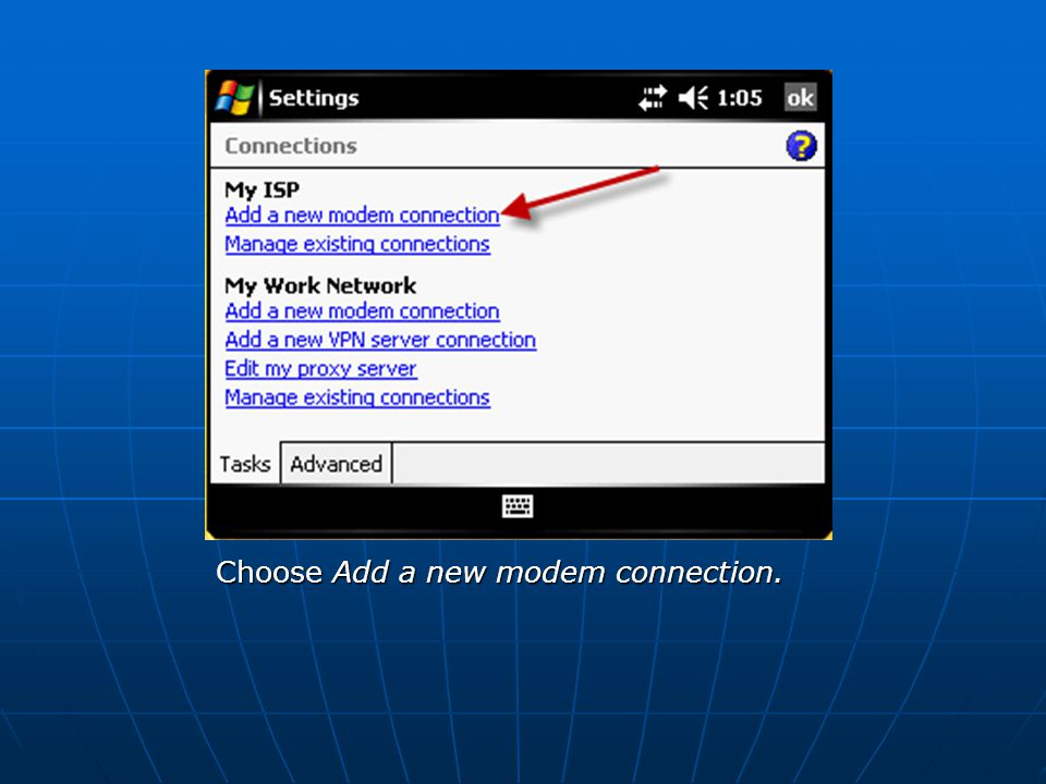 Choose Add a new modem connection.