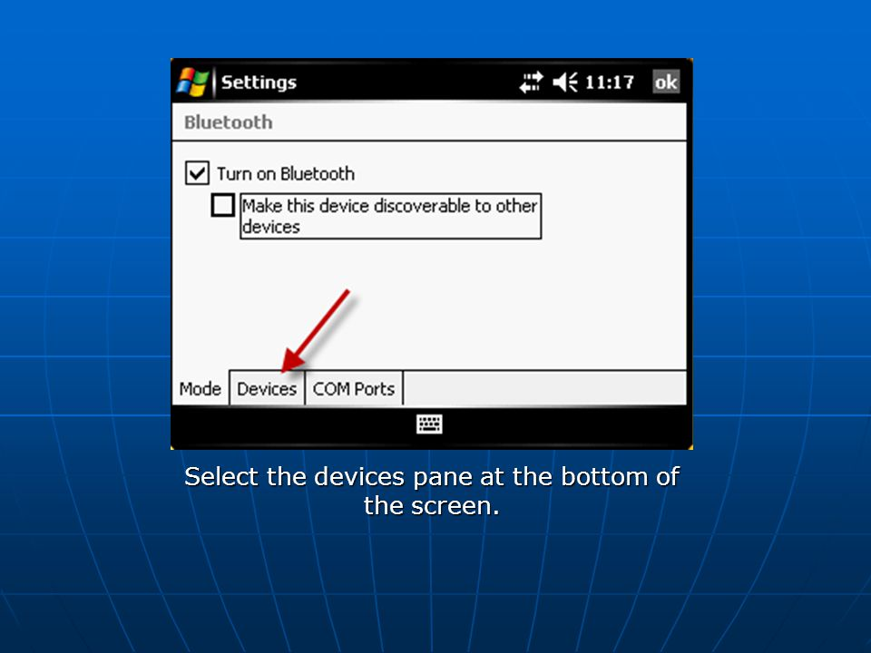 Select the devices pane at the bottom of the screen.
