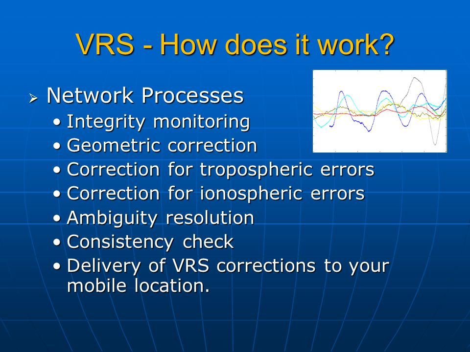 VRS - How does it work?  Network Processes Integrity monitoringIntegrity monitoring Geometric correctionGeometric correction Correction for troposphe