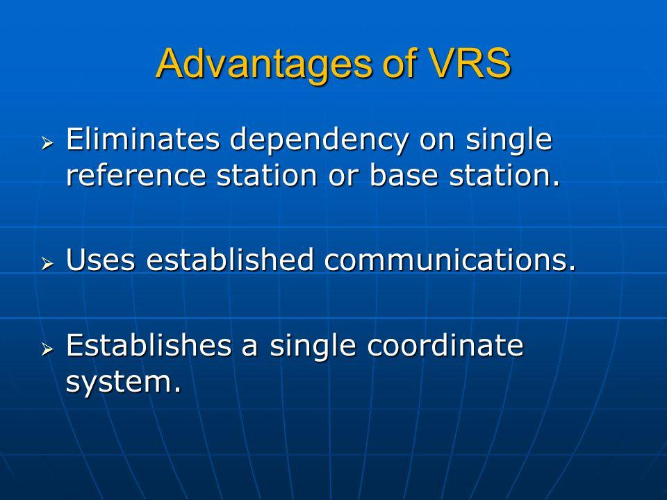 Advantages of VRS  Eliminates dependency on single reference station or base station.  Uses established communications.  Establishes a single coord