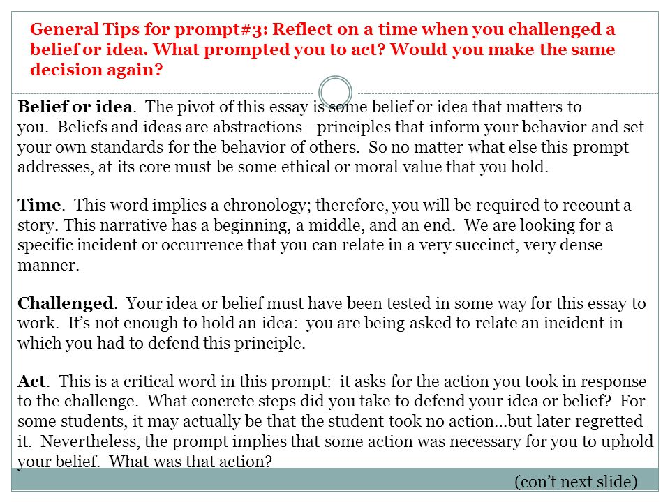 General Tips for prompt#3: Reflect on a time when you challenged a belief or idea.