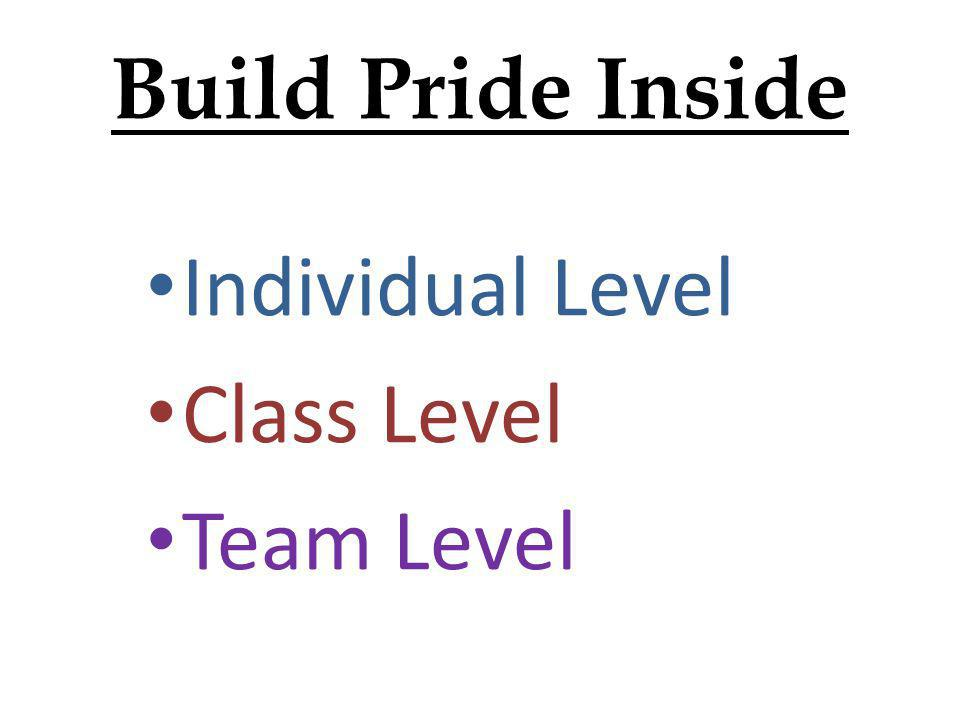 Build Pride Inside Individual Level Class Level Team Level