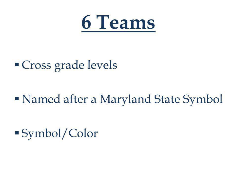 6 Teams  Cross grade levels  Named after a Maryland State Symbol  Symbol/Color