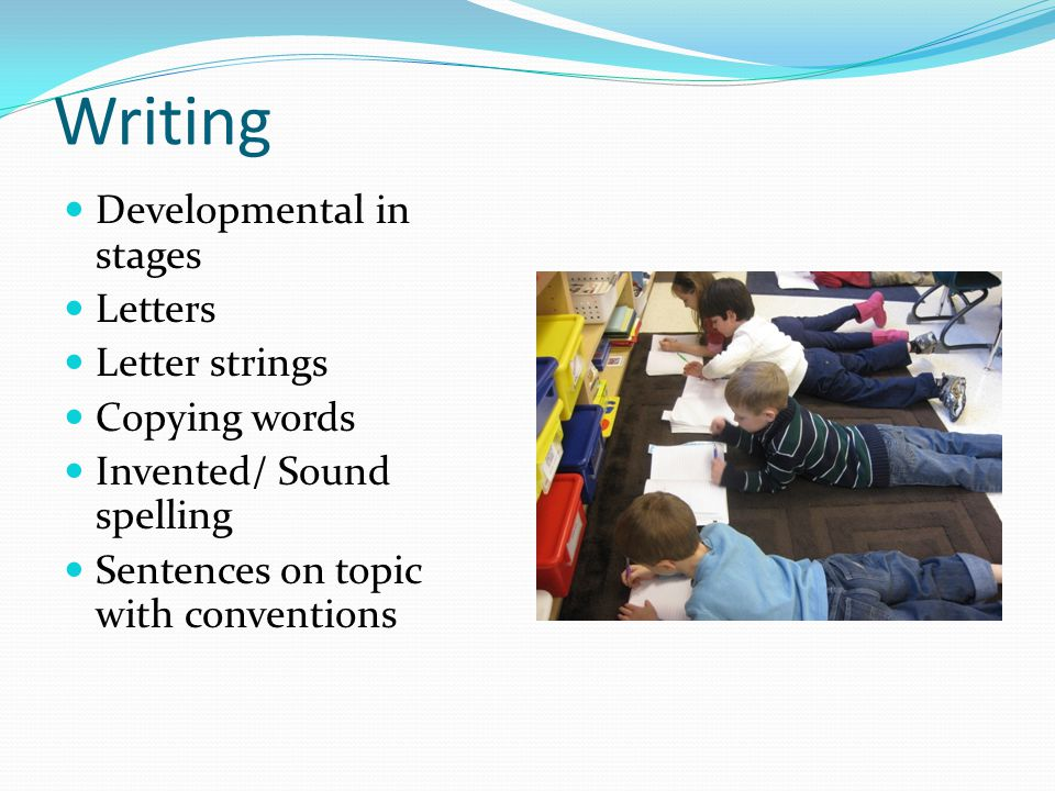 Writing Developmental in stages Letters Letter strings Copying words Invented/ Sound spelling Sentences on topic with conventions