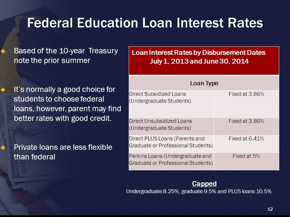 Federal Education Loan Interest Rates  Based of the 10-year Treasury note the prior summer  It's normally a good choice for students to choose federal loans, however, parent may find better rates with good credit.