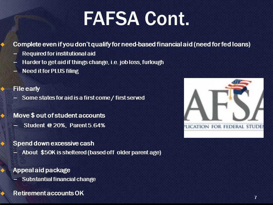FAFSA Cont.