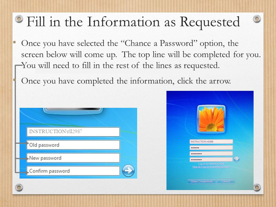 Fill in the Information as Requested INSTRUCTION\rll 2987 Once you have selected the Chance a Password option, the screen below will come up.