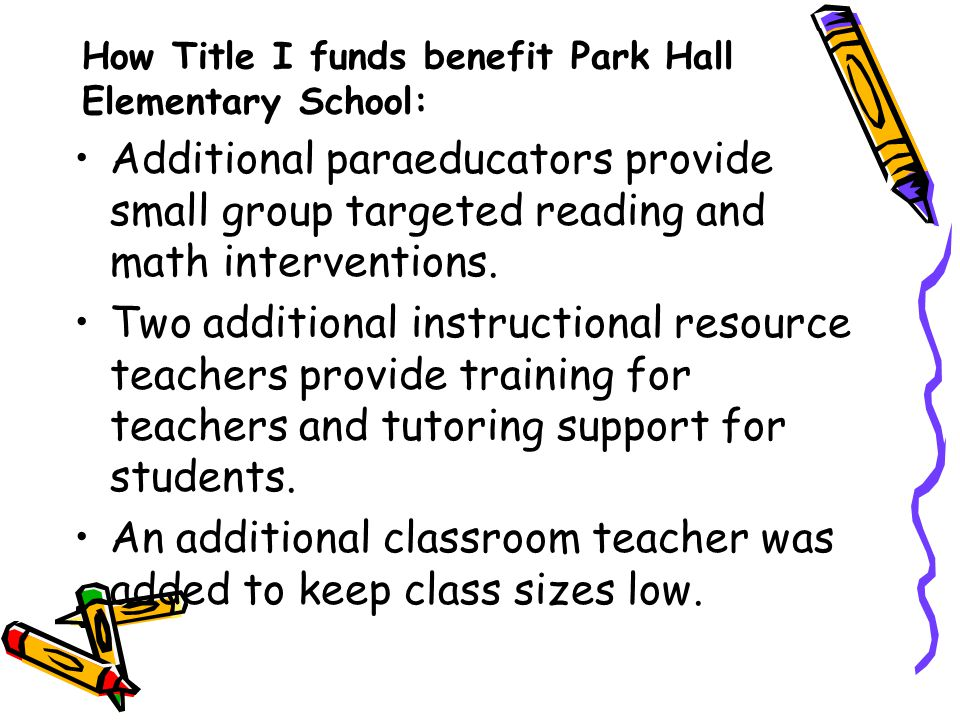 How Title I funds benefit Park Hall Elementary School: Additional paraeducators provide small group targeted reading and math interventions.