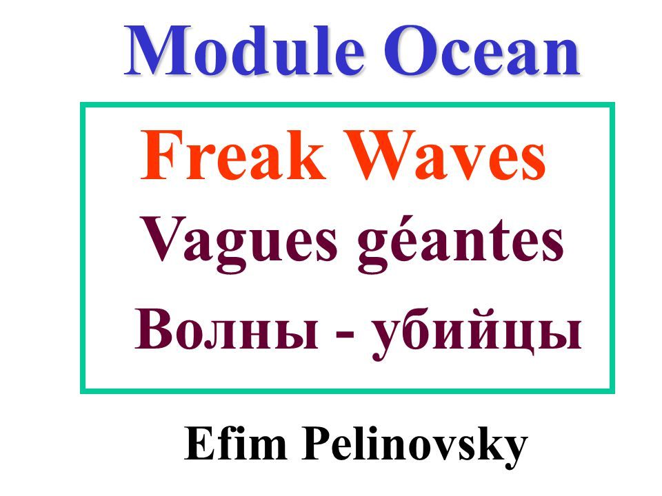 Module Ocean Efim Pelinovsky Freak Waves Vagues géantes Волны - убийцы