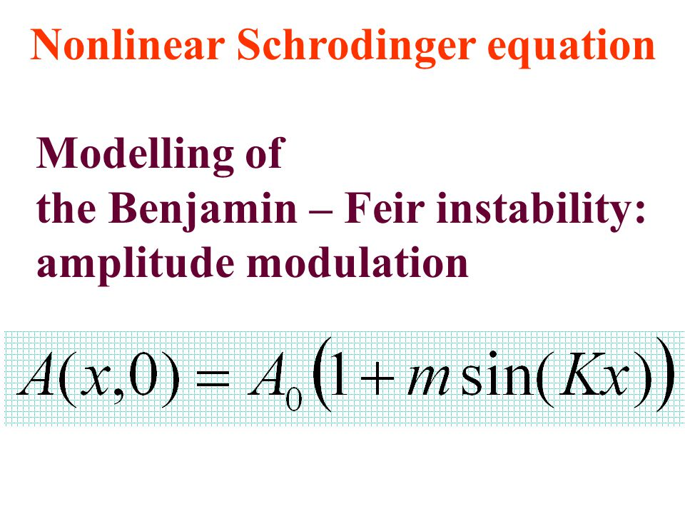 Nonlinear Schrodinger equation Modelling of the Benjamin – Feir instability: amplitude modulation