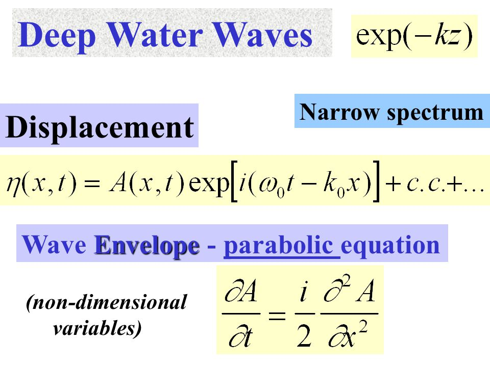 Deep Water Waves Narrow spectrum Displacement Envelope Wave Envelope - parabolic equation (non-dimensional variables)