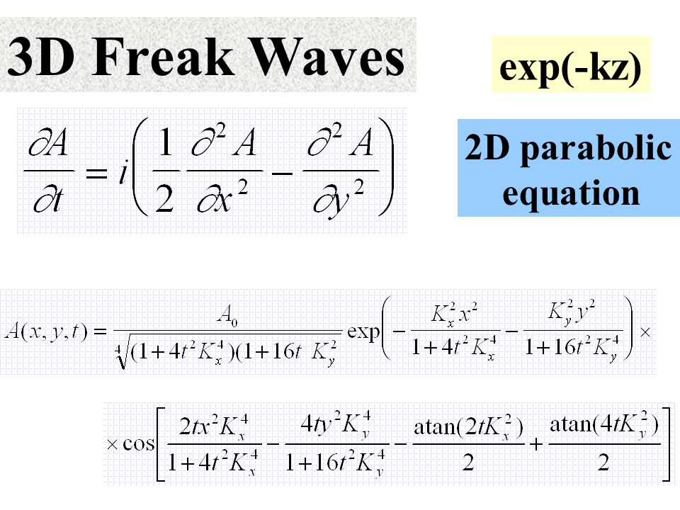 3D Freak Waves exp(-kz) 2D parabolic equation