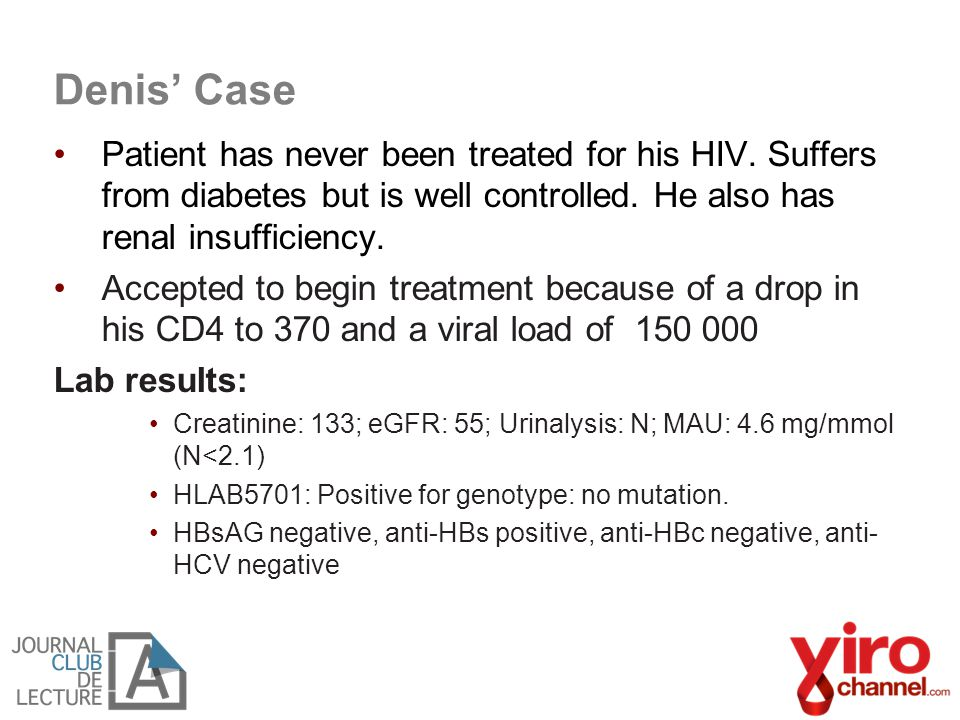 Denis' Case Patient has never been treated for his HIV.