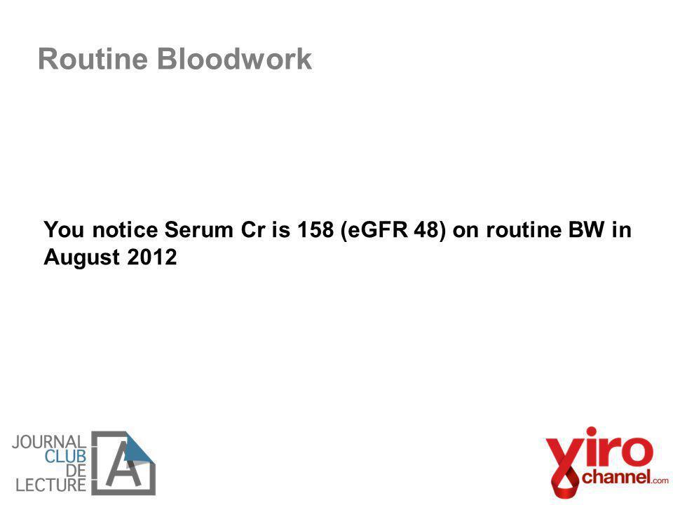 You notice Serum Cr is 158 (eGFR 48) on routine BW in August 2012 Routine Bloodwork