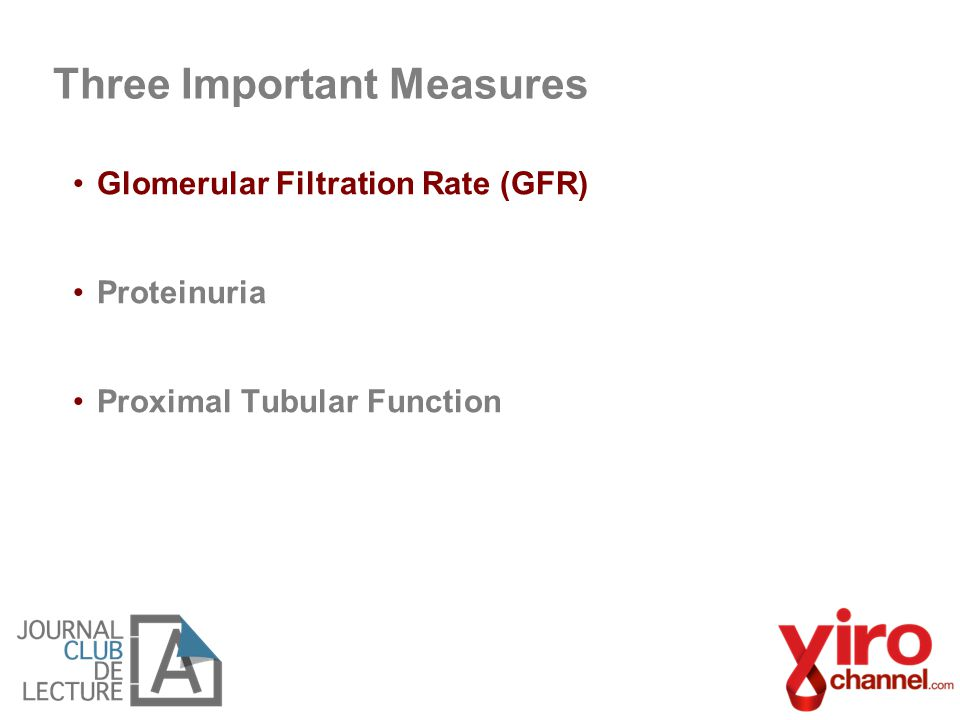 Glomerular Filtration Rate (GFR) Proteinuria Proximal Tubular Function Three Important Measures