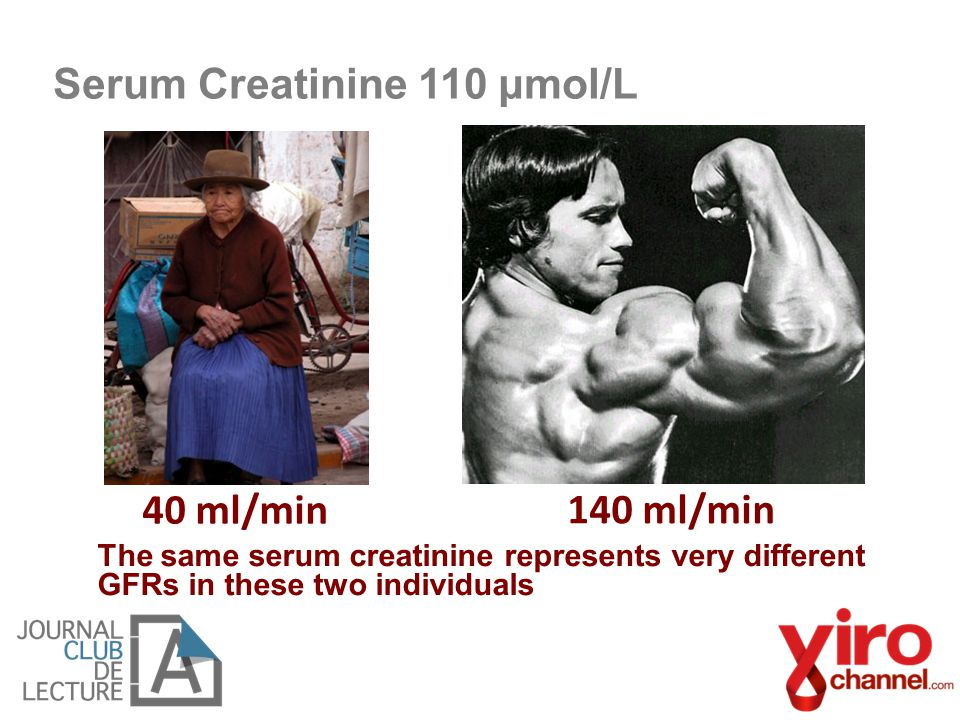 The same serum creatinine represents very different GFRs in these two individuals 40 ml/min 140 ml/min Serum Creatinine 110 μmol/L