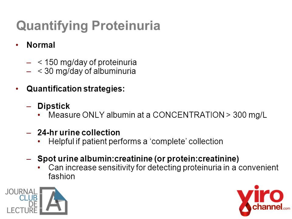 Normal –< 150 mg/day of proteinuria –< 30 mg/day of albuminuria Quantification strategies: –Dipstick Measure ONLY albumin at a CONCENTRATION > 300 mg/