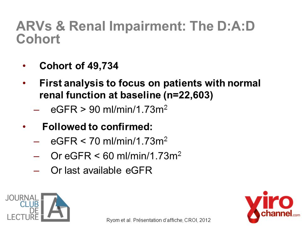 Cohort of 49,734 First analysis to focus on patients with normal renal function at baseline (n=22,603) –eGFR > 90 ml/min/1.73m 2 Followed to confirmed