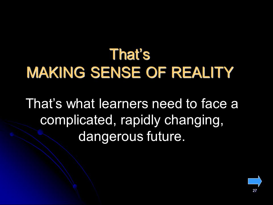 27 That's MAKING SENSE OF REALITY That's what learners need to face a complicated, rapidly changing, dangerous future.