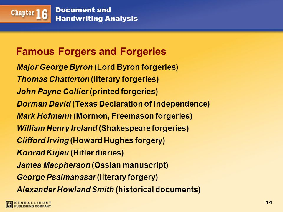 14 Document and Handwriting Analysis Famous Forgers and Forgeries Major George Byron (Lord Byron forgeries) Thomas Chatterton (literary forgeries) Joh