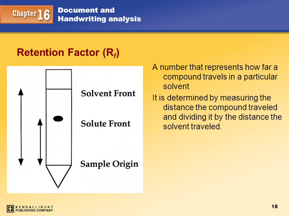 Retention Factor (R f ) A number that represents how far a compound travels in a particular solvent It is determined by measuring the distance the com