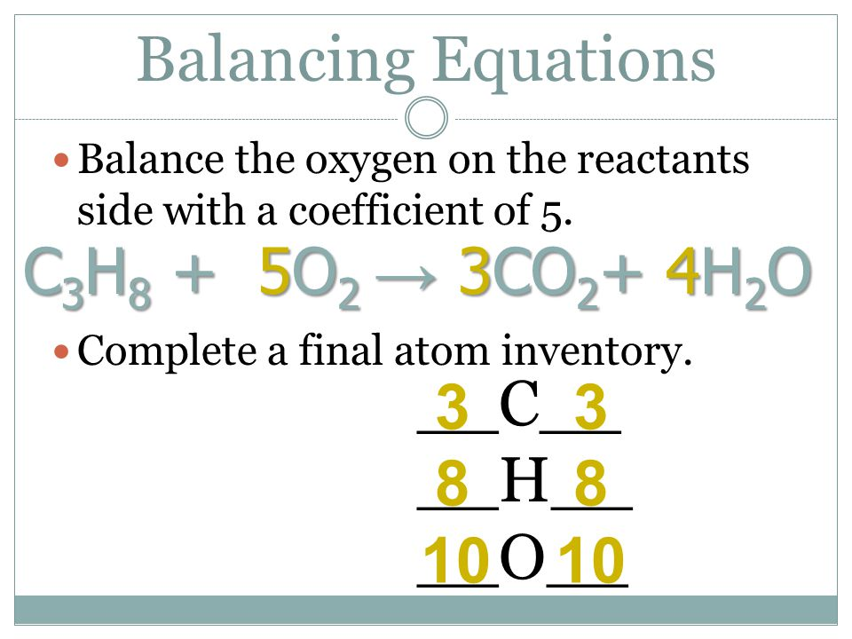 Balancing Equations Balance the oxygen on the reactants side with a coefficient of 5. C 3 H 8 + 5O 2 → 3CO 2 + 4H 2 O Complete a final atom inventory.