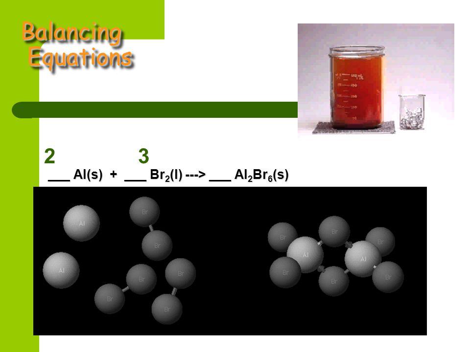 Balancing Equations ___ Al(s) + ___ Br 2 (l) ---> ___ Al 2 Br 6 (s) 23