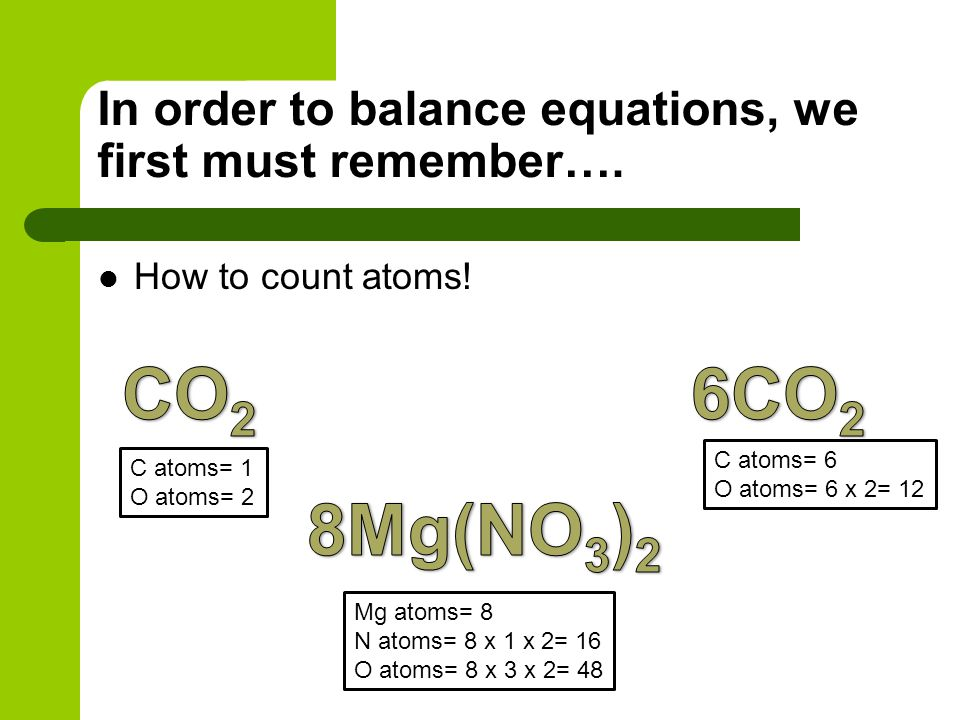 In order to balance equations, we first must remember…. How to count atoms! C atoms= 1 O atoms= 2 C atoms= 6 O atoms= 6 x 2= 12 Mg atoms= 8 N atoms= 8