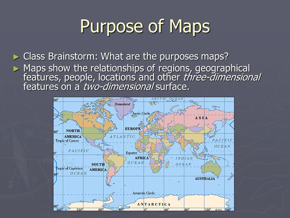 Purpose of Maps ► Class Brainstorm: What are the purposes maps.