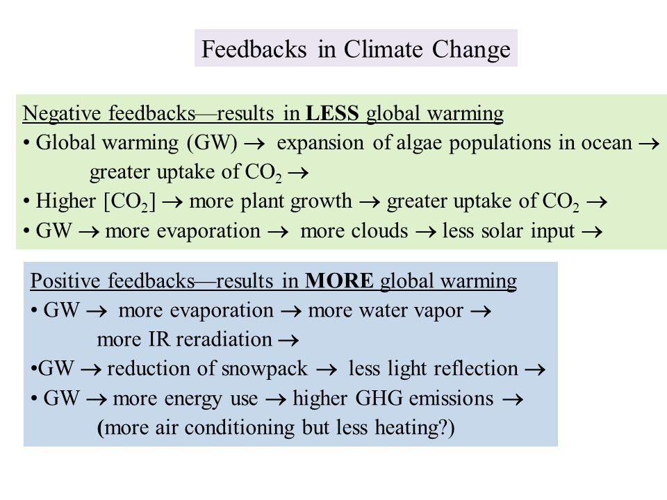 Feedbacks in Climate Change Negative feedbacks—results in LESS global warming Global warming (GW)  expansion of algae populations in ocean  greater uptake of CO 2  Higher [CO 2 ]  more plant growth  greater uptake of CO 2  GW  more evaporation  more clouds  less solar input  Positive feedbacks—results in MORE global warming GW  more evaporation  more water vapor  more IR reradiation  GW  reduction of snowpack  less light reflection  GW  more energy use  higher GHG emissions  (more air conditioning but less heating?)