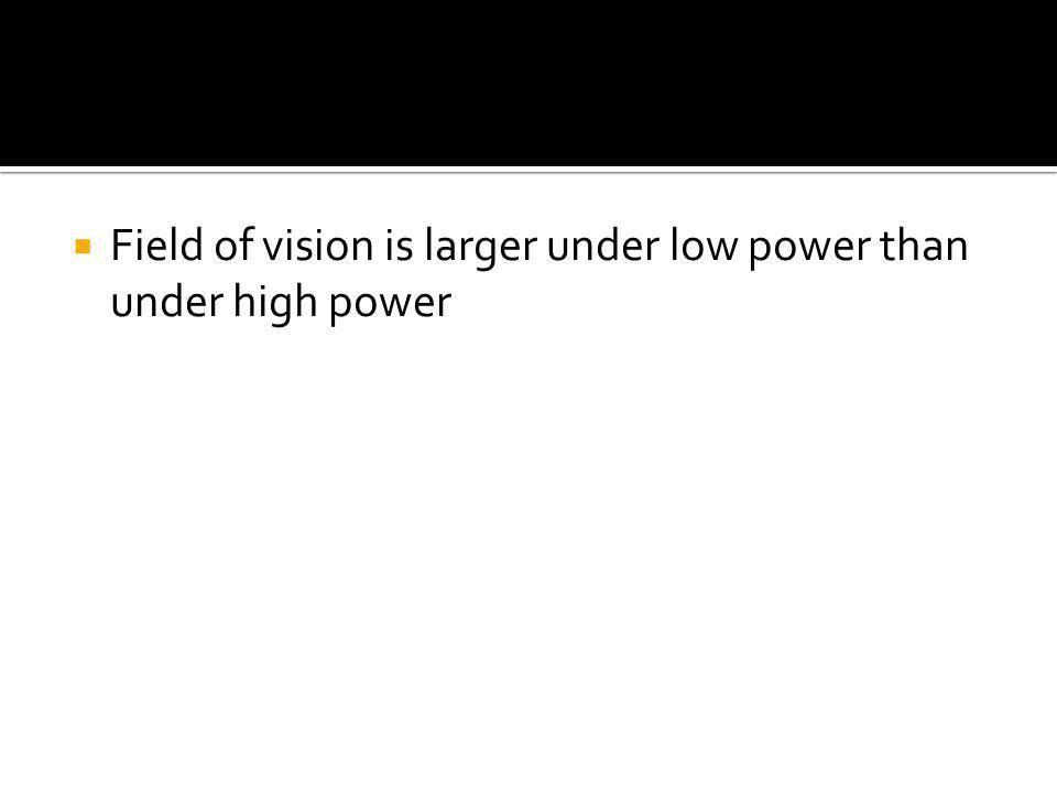  Field of vision is larger under low power than under high power