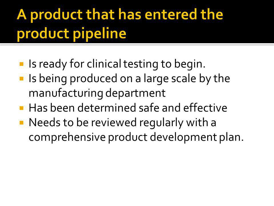  Is ready for clinical testing to begin.  Is being produced on a large scale by the manufacturing department  Has been determined safe and effectiv